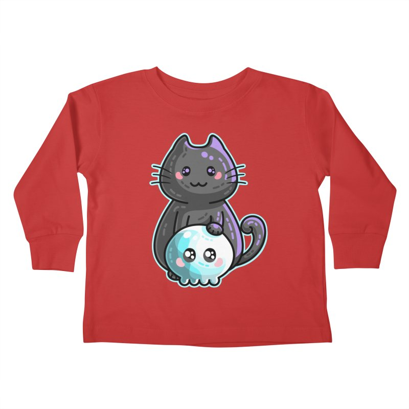 Kawaii Cute Black Cat and Skull Kids Toddler Longsleeve T-Shirt by Flaming Imp's Artist Shop