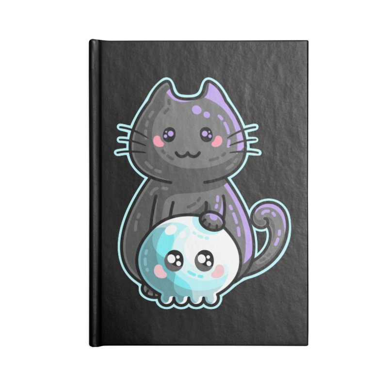 Kawaii Cute Black Cat and Skull Accessories Blank Journal Notebook by Flaming Imp's Artist Shop