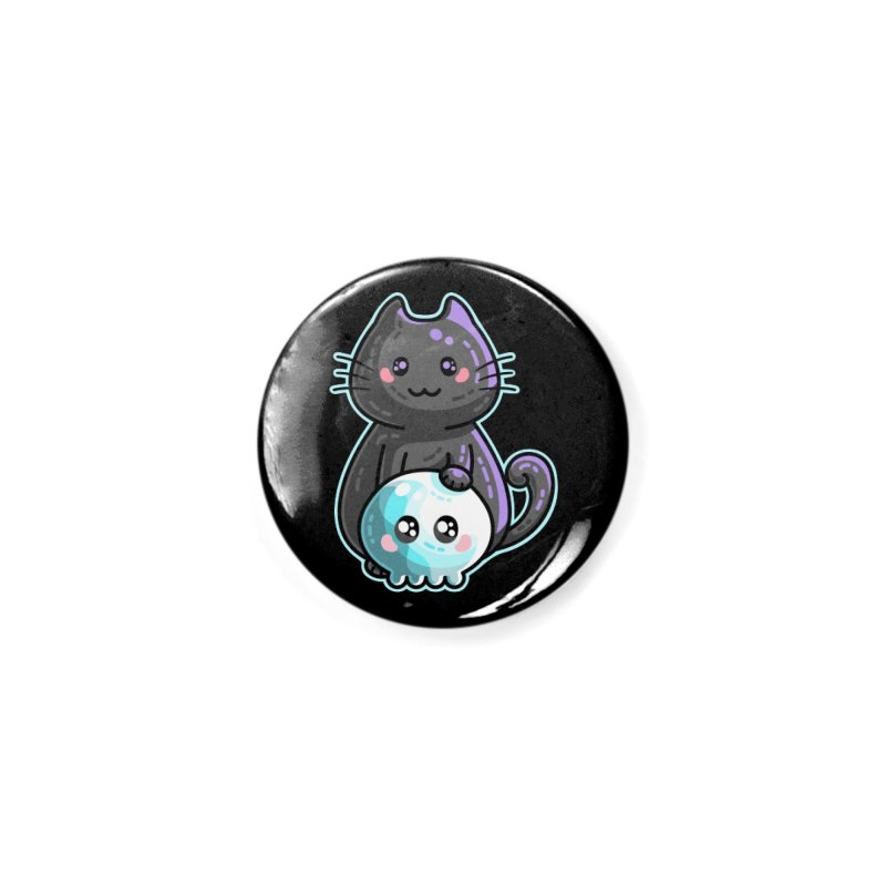 Kawaii Cute Black Cat and Skull Accessories Button by Flaming Imp's Artist Shop