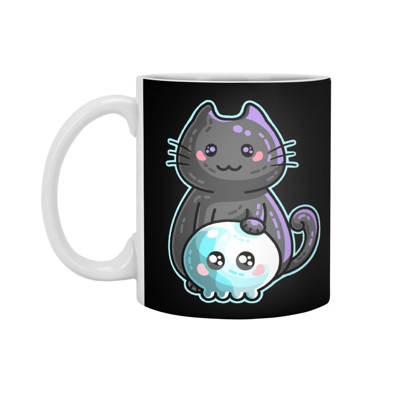 Kawaii Cute Black Cat and Skull Accessories Standard Mug by Flaming Imp's Artist Shop