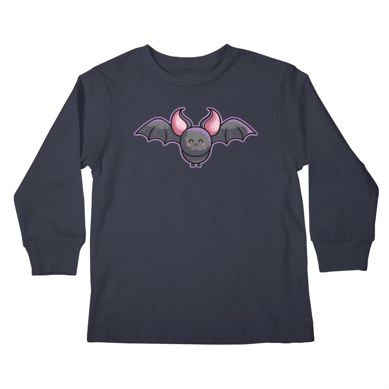 Kawaii Cute Bat Kids Longsleeve T-Shirt by Flaming Imp's Artist Shop