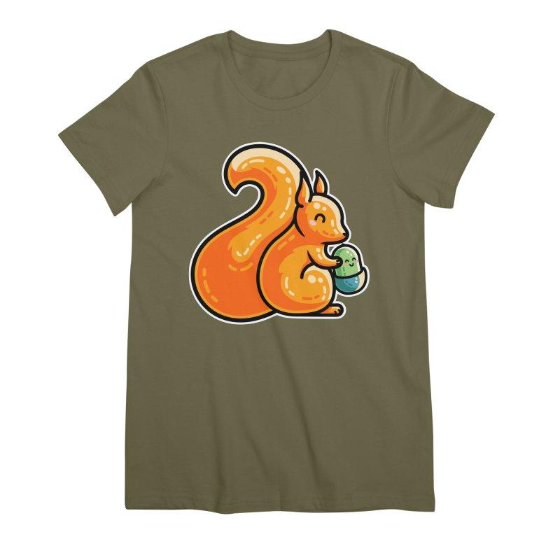 Kawaii Cute Red Squirrel and Acorn Women's Premium T-Shirt by Flaming Imp's Artist Shop