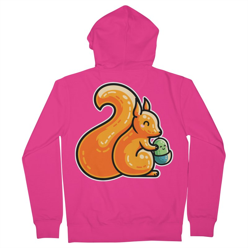 Kawaii Cute Red Squirrel and Acorn Men's Zip-Up Hoody by Flaming Imp's Artist Shop