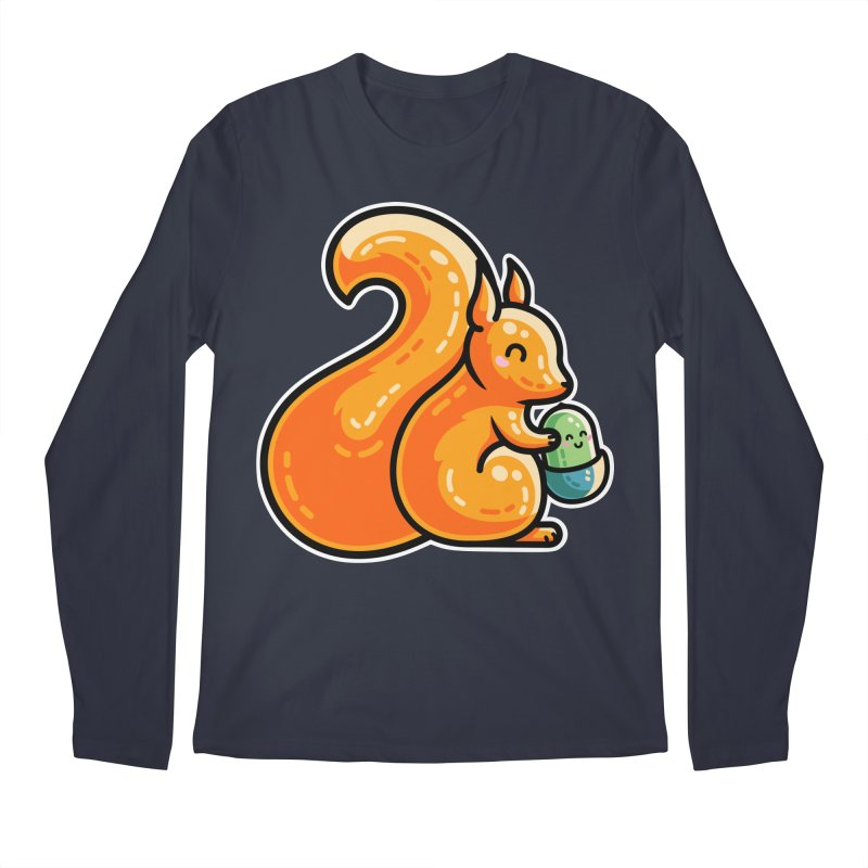 Kawaii Cute Red Squirrel and Acorn Men's Longsleeve T-Shirt by Flaming Imp's Artist Shop