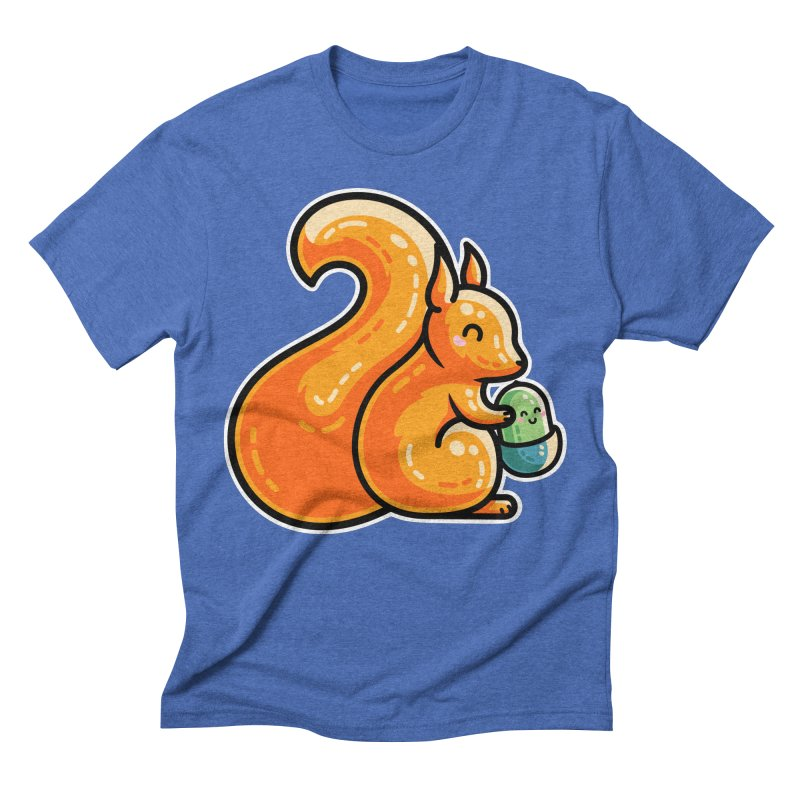 Kawaii Cute Red Squirrel and Acorn Men's T-Shirt by Flaming Imp's Artist Shop