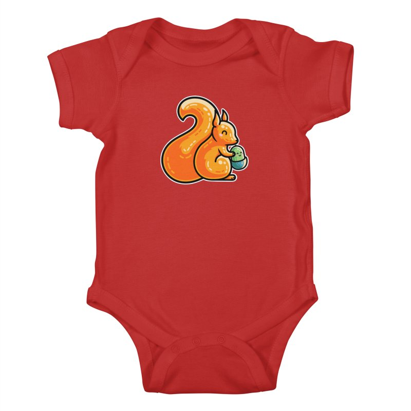Kawaii Cute Red Squirrel and Acorn Kids Baby Bodysuit by Flaming Imp's Artist Shop
