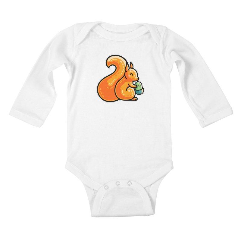 Kawaii Cute Red Squirrel and Acorn Kids Baby Longsleeve Bodysuit by Flaming Imp's Artist Shop