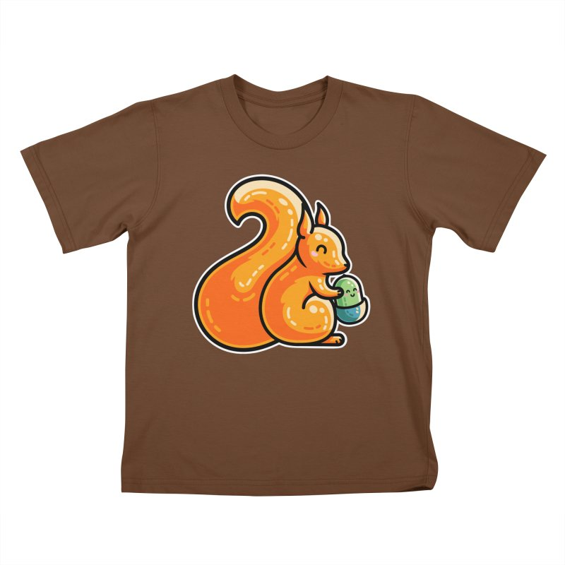 Kawaii Cute Red Squirrel and Acorn Kids T-Shirt by Flaming Imp's Artist Shop