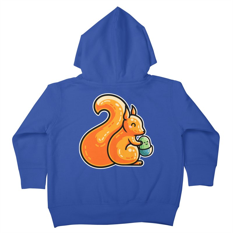 Kawaii Cute Red Squirrel and Acorn Kids Toddler Zip-Up Hoody by Flaming Imp's Artist Shop