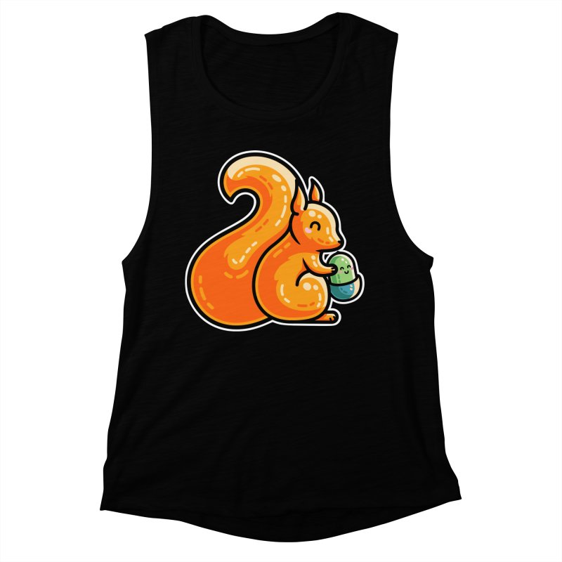 Kawaii Cute Red Squirrel and Acorn Women's Muscle Tank by Flaming Imp's Artist Shop