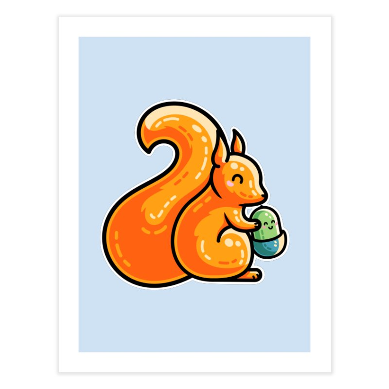 Kawaii Cute Red Squirrel and Acorn Home Fine Art Print by Flaming Imp's Artist Shop