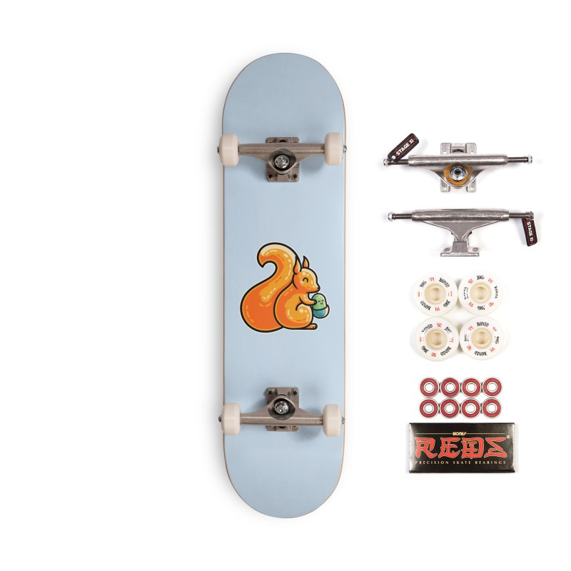 Kawaii Cute Red Squirrel and Acorn Accessories Complete - Pro Skateboard by Flaming Imp's Artist Shop