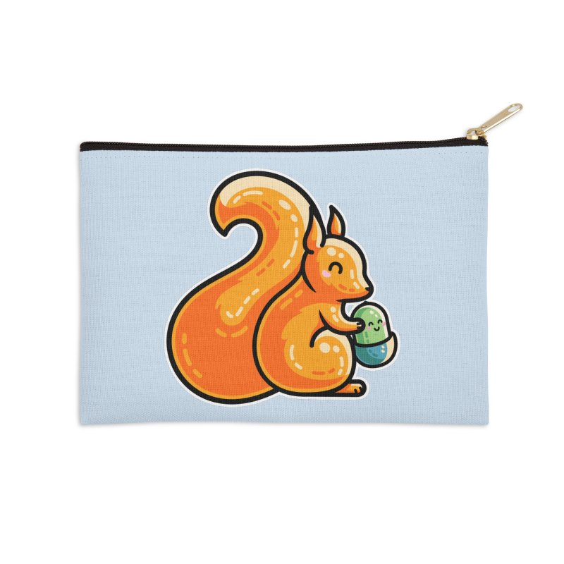 Kawaii Cute Red Squirrel and Acorn Accessories Zip Pouch by Flaming Imp's Artist Shop