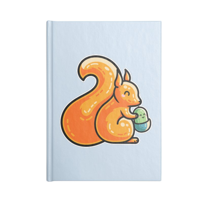 Kawaii Cute Red Squirrel and Acorn Accessories Lined Journal Notebook by Flaming Imp's Artist Shop