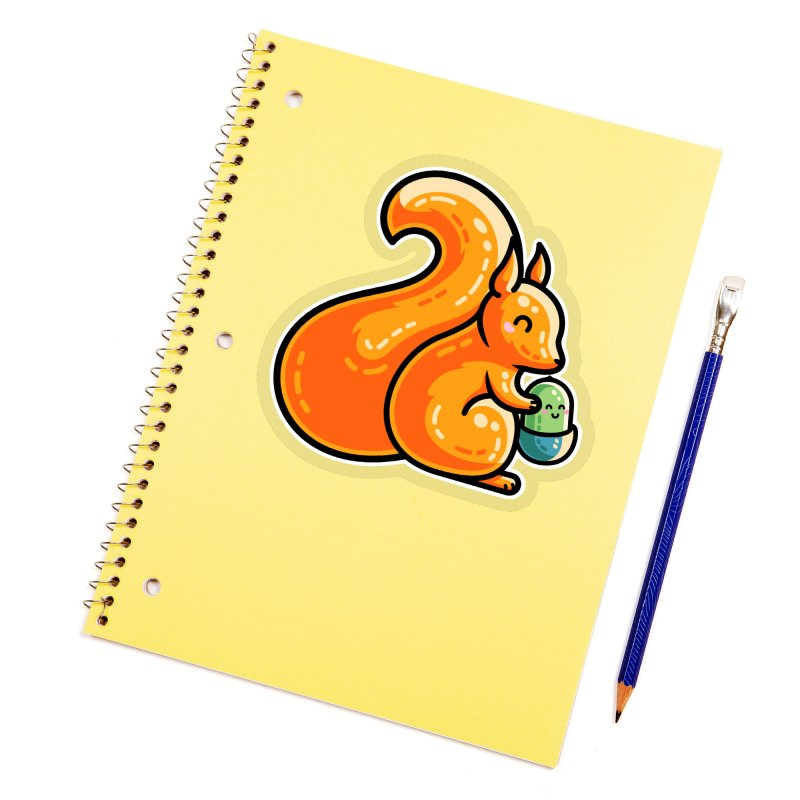 Kawaii Cute Red Squirrel and Acorn Accessories Sticker by Flaming Imp's Artist Shop