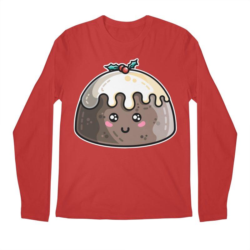 Kawaii Cute Christmas Pudding Men's Regular Longsleeve T-Shirt by Flaming Imp's Artist Shop