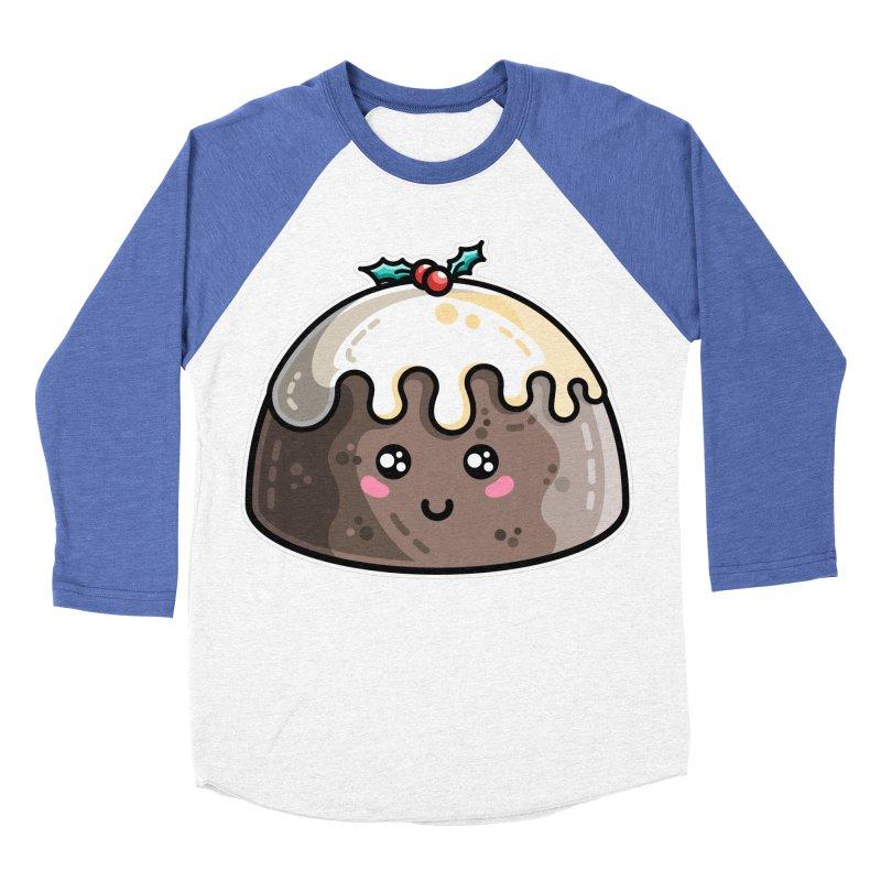 Kawaii Cute Christmas Pudding Men's Baseball Triblend Longsleeve T-Shirt by Flaming Imp's Artist Shop