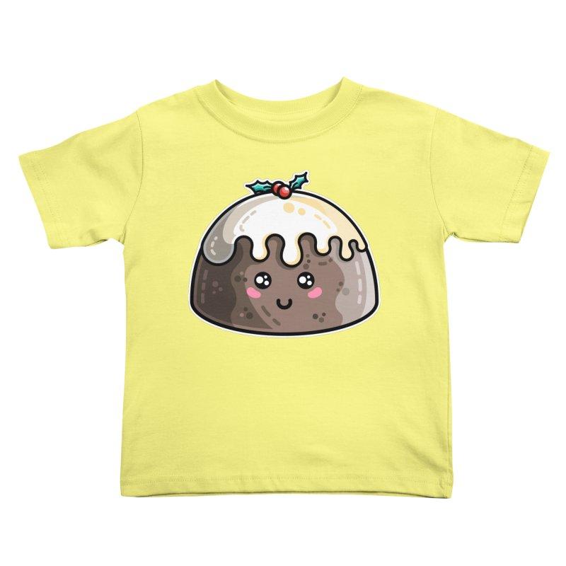 Kawaii Cute Christmas Pudding Kids Toddler T-Shirt by Flaming Imp's Artist Shop