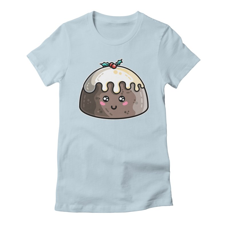 Kawaii Cute Christmas Pudding Women's Fitted T-Shirt by Flaming Imp's Artist Shop