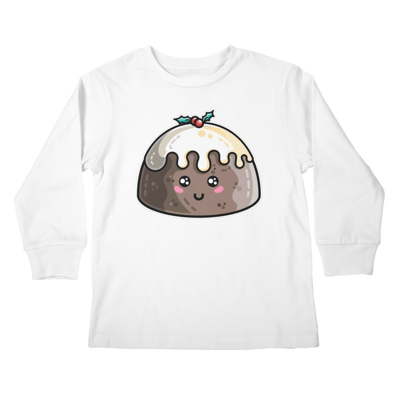 Kawaii Cute Christmas Pudding Kids Longsleeve T-Shirt by Flaming Imp's Artist Shop