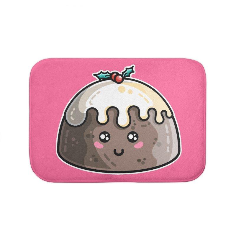 Kawaii Cute Christmas Pudding Home Bath Mat by Flaming Imp's Artist Shop