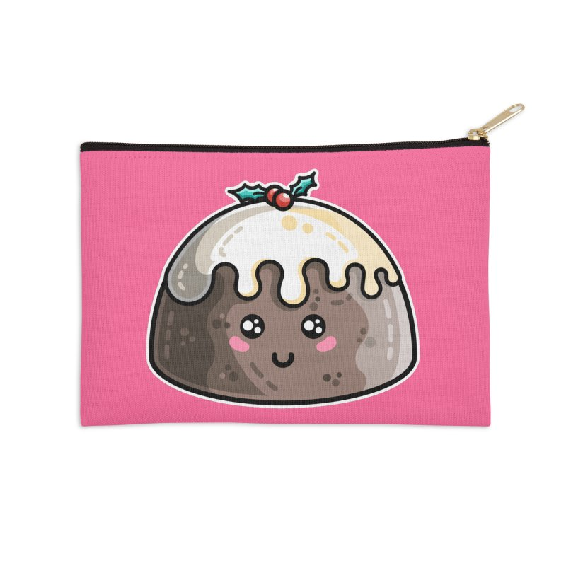Kawaii Cute Christmas Pudding Accessories Zip Pouch by Flaming Imp's Artist Shop