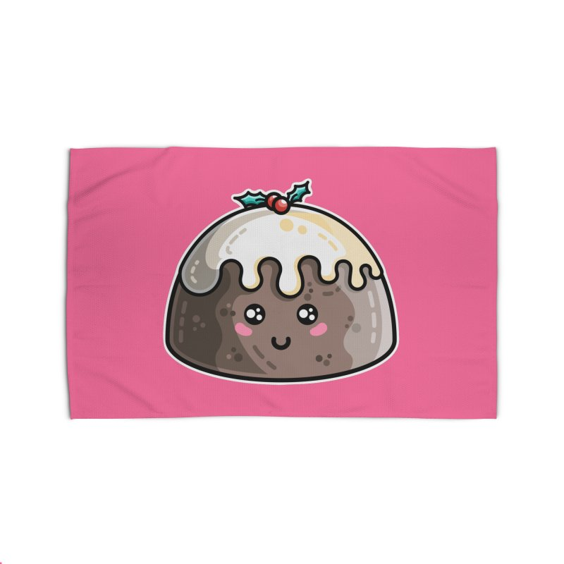 Kawaii Cute Christmas Pudding Home Rug by Flaming Imp's Artist Shop