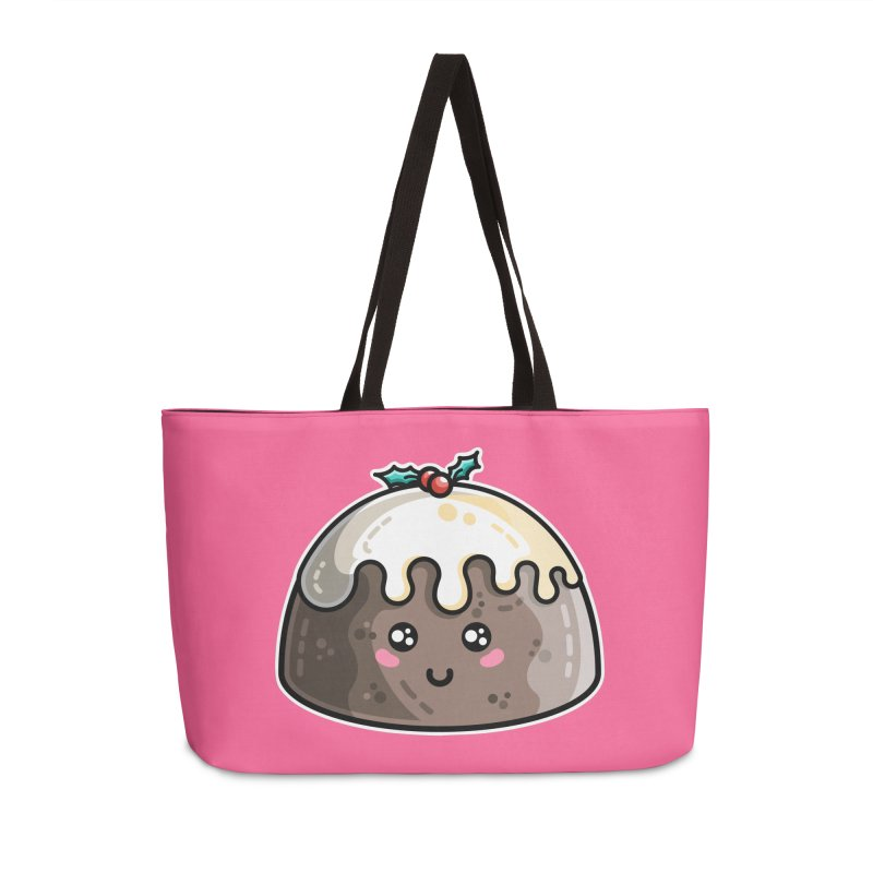 Kawaii Cute Christmas Pudding Accessories Weekender Bag Bag by Flaming Imp's Artist Shop