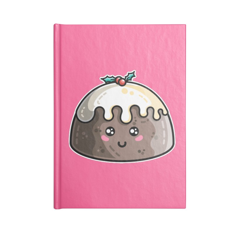 Kawaii Cute Christmas Pudding Accessories Blank Journal Notebook by Flaming Imp's Artist Shop