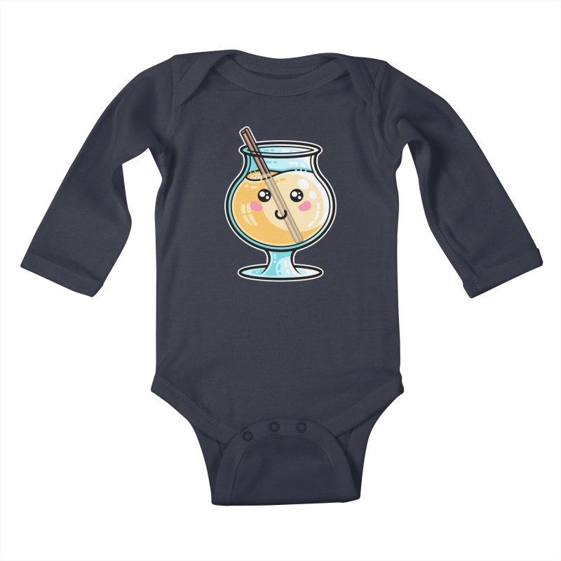 Kawaii Cute Eggnog Kids Baby Longsleeve Bodysuit by Flaming Imp's Artist Shop