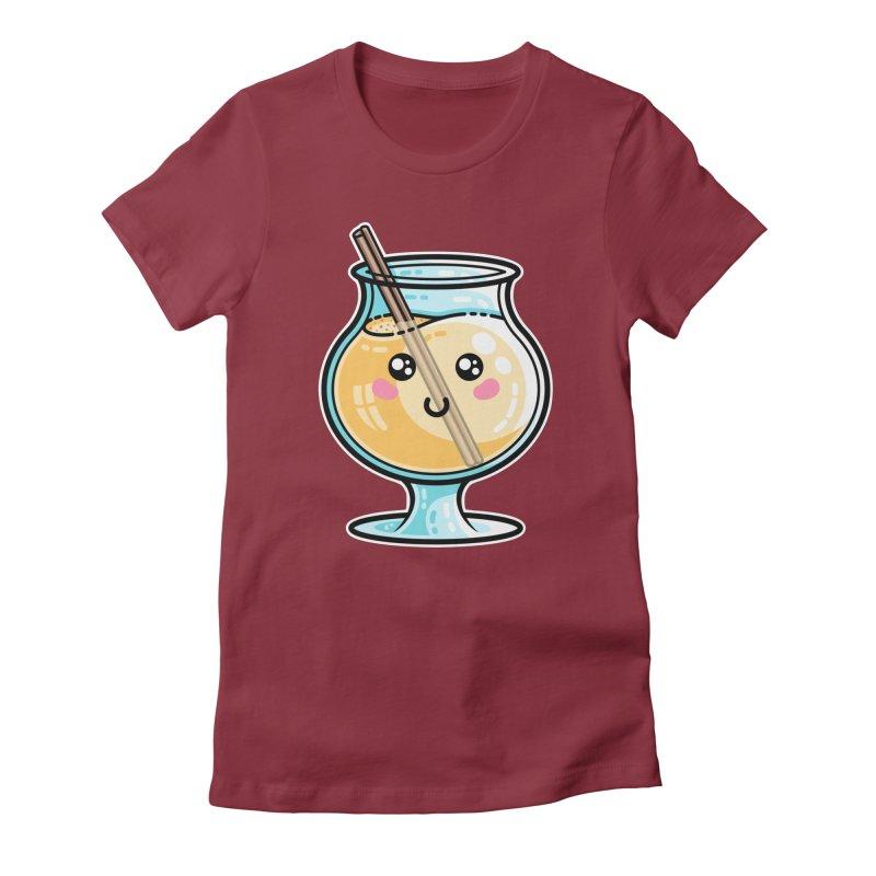 Kawaii Cute Eggnog Fitted T-Shirt by Flaming Imp's Artist Shop