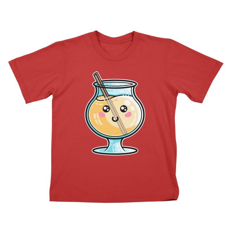 Kawaii Cute Eggnog Kids T-Shirt by Flaming Imp's Artist Shop