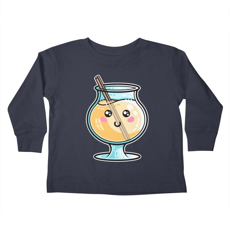 Kawaii Cute Eggnog Kids Toddler Longsleeve T-Shirt by Flaming Imp's Artist Shop