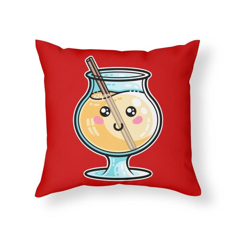 Kawaii Cute Eggnog Home Throw Pillow by Flaming Imp's Artist Shop