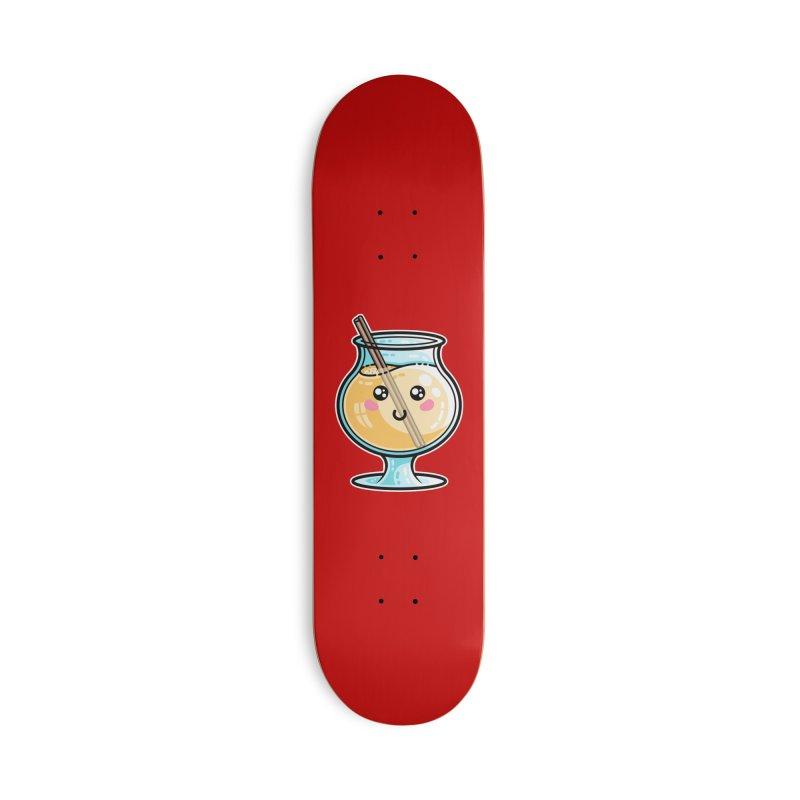 Kawaii Cute Eggnog Accessories Skateboard by Flaming Imp's Artist Shop