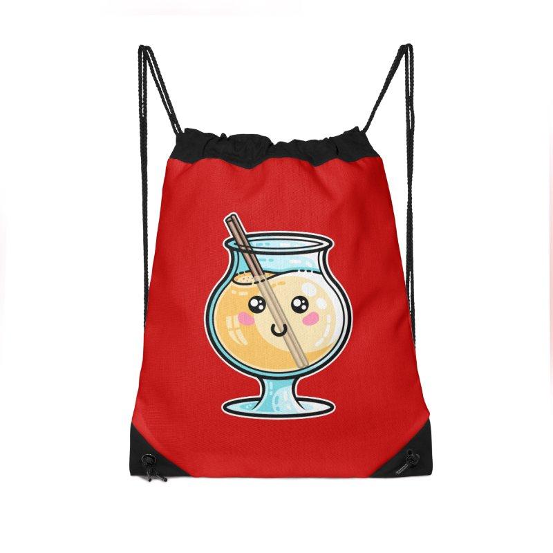 Kawaii Cute Eggnog Accessories Drawstring Bag Bag by Flaming Imp's Artist Shop