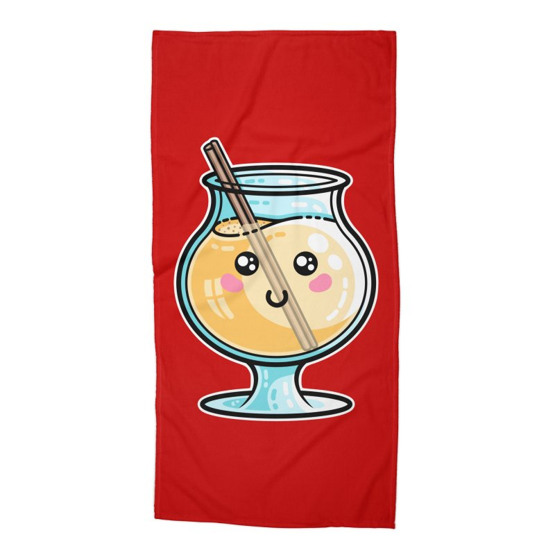 Kawaii Cute Eggnog Accessories Beach Towel by Flaming Imp's Artist Shop