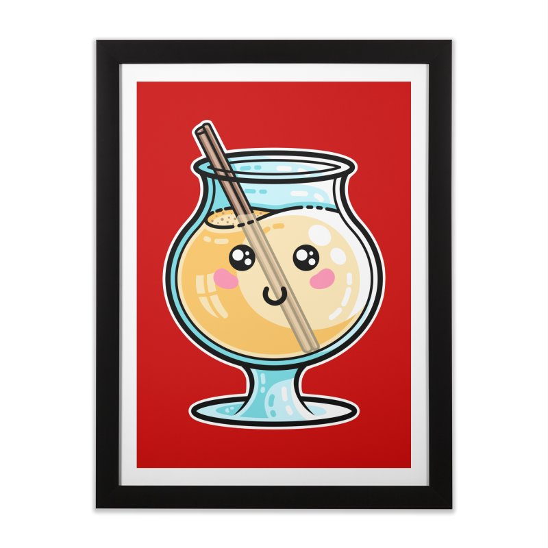 Kawaii Cute Eggnog Home Framed Fine Art Print by Flaming Imp's Artist Shop