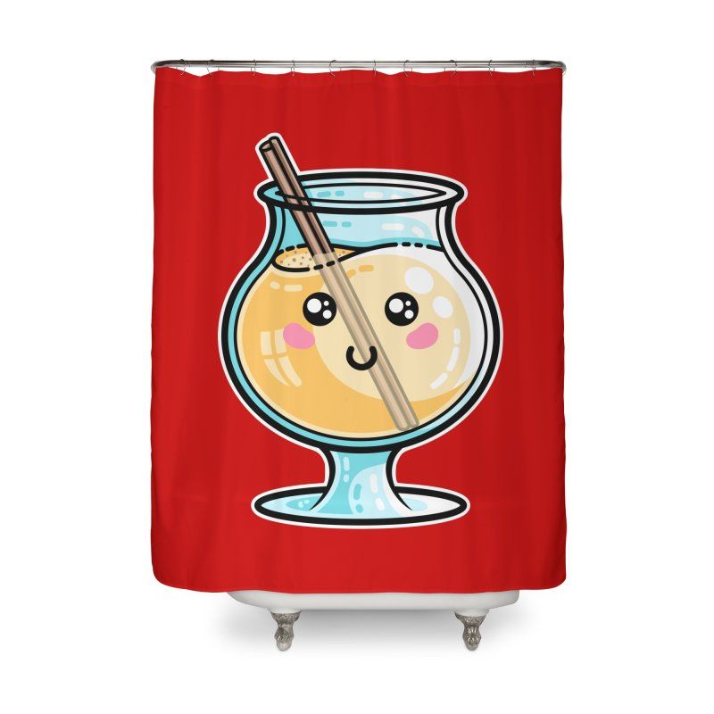 Kawaii Cute Eggnog Home Shower Curtain by Flaming Imp's Artist Shop
