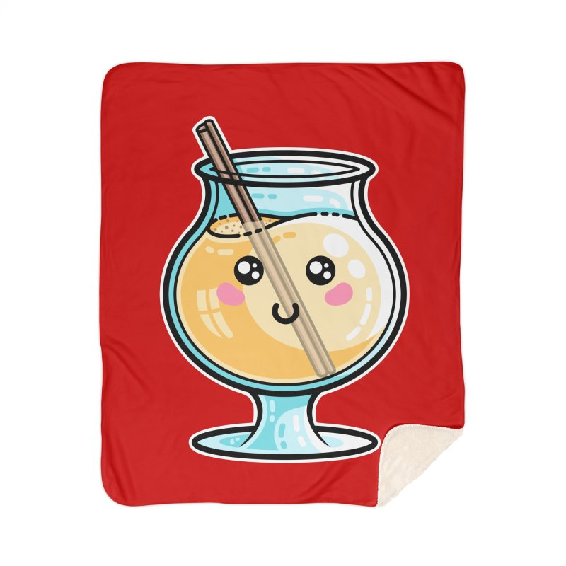 Kawaii Cute Eggnog Home Sherpa Blanket Blanket by Flaming Imp's Artist Shop