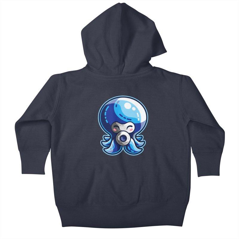 Cute Blue Octorok Kids Baby Zip-Up Hoody by Flaming Imp's Artist Shop