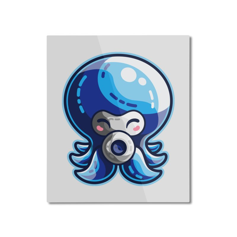 Cute Blue Octorok Home Mounted Aluminum Print by Flaming Imp's Artist Shop