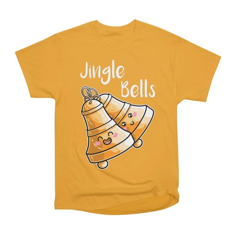 Kawaii Cute Christmas Jingle Bells Men's Heavyweight T-Shirt by Flaming Imp's Artist Shop
