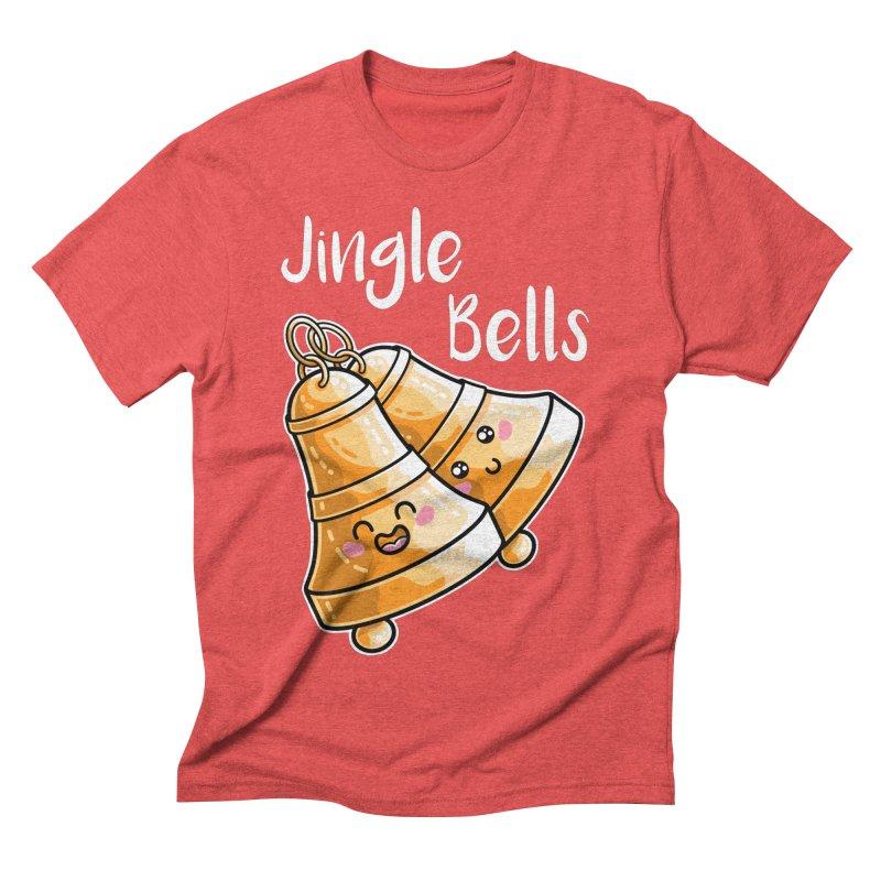 Kawaii Cute Christmas Jingle Bells Men's Triblend T-Shirt by Flaming Imp's Artist Shop