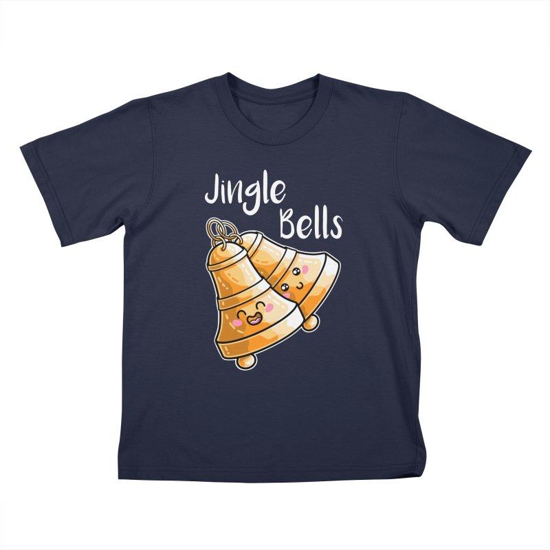 Kawaii Cute Christmas Jingle Bells Kids T-Shirt by Flaming Imp's Artist Shop