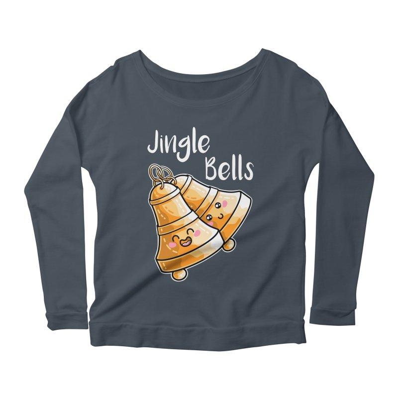 Kawaii Cute Christmas Jingle Bells Women's Scoop Neck Longsleeve T-Shirt by Flaming Imp's Artist Shop