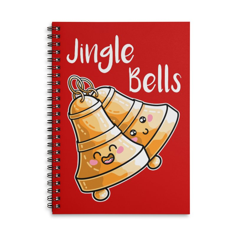 Kawaii Cute Christmas Jingle Bells Accessories Lined Spiral Notebook by Flaming Imp's Artist Shop