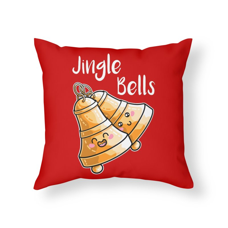 Kawaii Cute Christmas Jingle Bells Home Throw Pillow by Flaming Imp's Artist Shop
