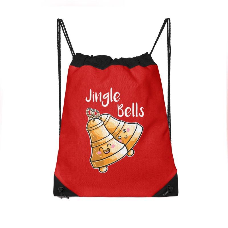 Kawaii Cute Christmas Jingle Bells Accessories Drawstring Bag Bag by Flaming Imp's Artist Shop