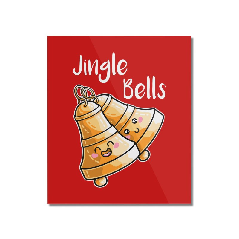 Kawaii Cute Christmas Jingle Bells Home Mounted Acrylic Print by Flaming Imp's Artist Shop